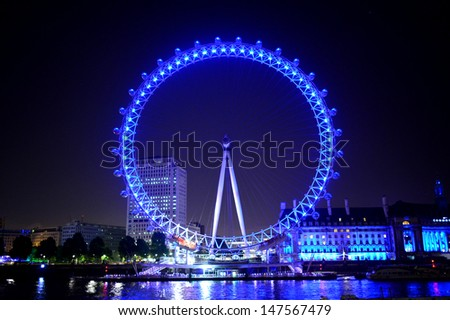 london eye at the night - stock photo