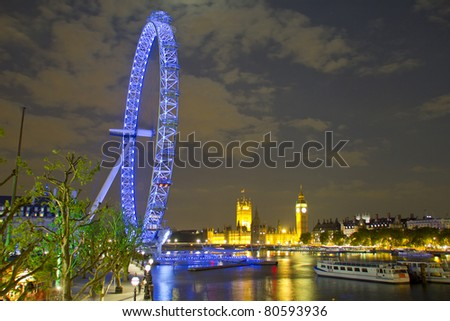 London eye, Big Ben and Houses of Parliament by night - stock photo