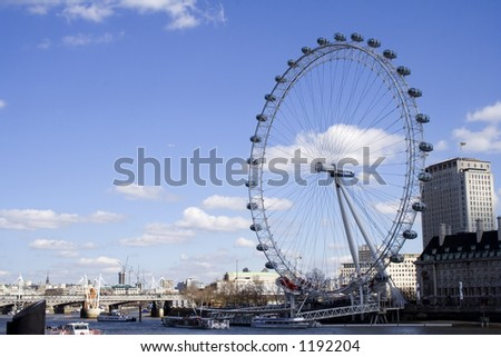 London eye By the Thames - stock photo