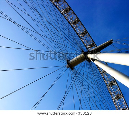 London Eye close up from below with clear blue sky