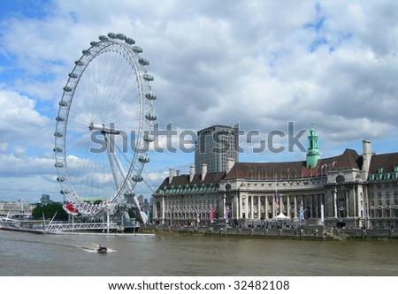 London Eye from the River Thames, London, England, UK