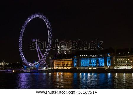 London eye: New London Landmark at night - stock photo