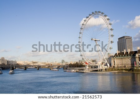 London eye, the South bank and the river Thames