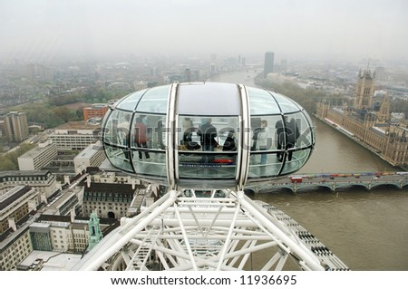 london eye with panoramic view - stock photo