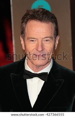 LONDON - FEB 14, 2016: Bryan Cranston attends the EE Bafta British Academy Film Awards at the Royal Opera House on Feb 14, 2016 in London