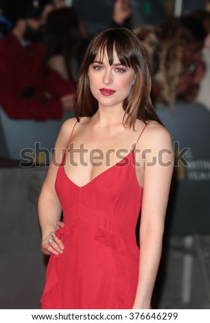 LONDON - FEB 14, 2016: Dakota Johnson attends the EE Bafta British Academy Film Awards at the Royal Opera House on Feb 14, 2016 in London - stock photo