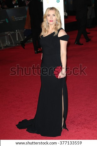 LONDON - FEB 14, 2016: Kate Winslet attends the EE Bafta British Academy Film Awards at the Royal Opera House on Feb 14, 2016 in London - stock photo