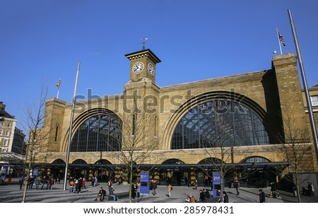 LONDON - FEB 16: outside view of King's Cross train station, opened 1852, also called London St Pancras International railway station, home of the Eurostar on Feb 16, 2014, London, UK. - stock photo