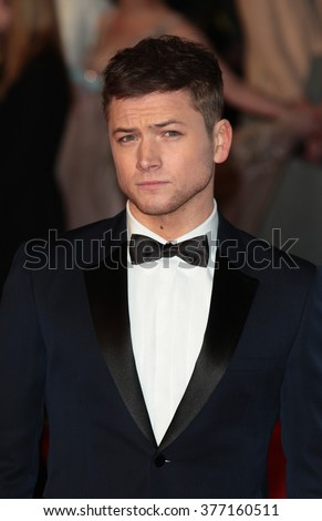 LONDON - FEB 14, 2016: Taron Egerton attends the EE Bafta British Academy Film Awards at the Royal Opera House on Feb 14, 2016 in London - stock photo
