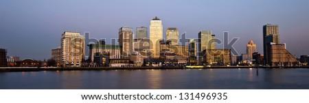 London financial district panoramic skyline  - stock photo