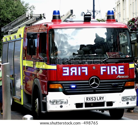 london fire brigade fire engine - stock photo