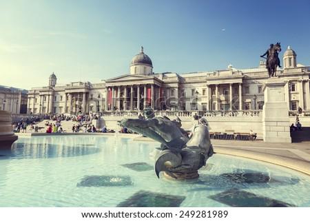 London, fountain on the Trafalgar Square  - stock photo
