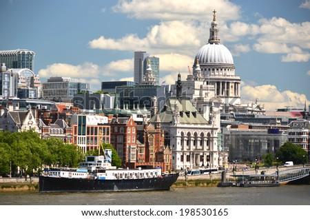 London from Waterloo Bridge - stock photo