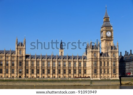 London, government houses of the Parliament in westminster - stock photo