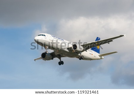 LONDON, HEATHROW, UK - OCTOBER 30: Airbus A320 operated by Lufthansa, one of the world's top five largest airlines on landing approach to London Heathrow Airport, UK on October 30, 2012 - stock photo