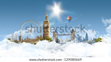 London Heaven - photographic composition of famous landmarks of London, UK - stock photo