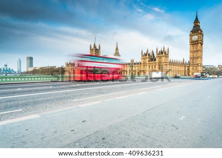 London iconic landmarks , Westminster Bridge - stock photo