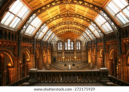 LONDON - JAN 11: Inside view of Natural History Museum, established 1881, designed by Alfred Waterhouse, annual visitors 5.4 million, located in South Kensington, on Jan 11, 2011, London, UK.  - stock photo