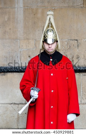 LONDON - JAN 16, 2016: the Royal Guard at the Admiralty House in London, England - stock photo