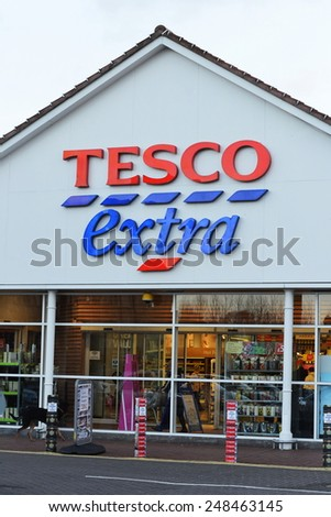 LONDON - JAN 29: View of a Tesco Store in the town centre on Jan 29, 2015 in London, UK. Britain's Tesco is the world's third largest retailer after America's Walmart and France's Carrefour. - stock photo