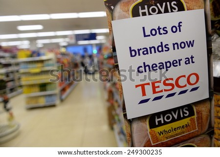 LONDON - JAN 29: View of an empty aisle in a Tesco Extra store on Jan 29, 2013 in London, UK. Britain's Tesco is the world's third largest retailer after America's Walmart and France's Carrefour. - stock photo