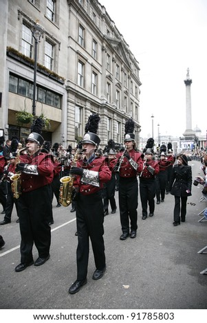 LONDON - JANUARY 01: An unidentified marching band participates in the New Years Day Parade on January 01, 2012 in London, UK. More than 10,000 performers represent for 20 countries world-wide.