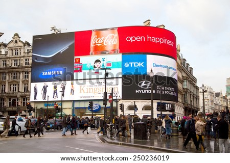 LONDON - JANUARY 27TH: Piccadilly circus on January the 27th, 2015, in London, England, UK. Piccadilly circus is one of europe's busiest tourist destinations - stock photo