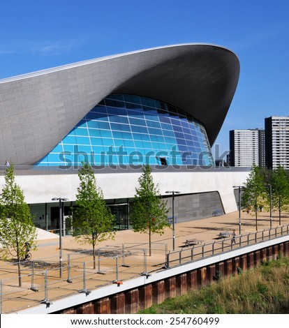 LONDON - JANUARY 24. The Aquatics Centre is now a public swimming facility designed by Zaha Hadid Architects and open daily to everyone of all abilities; January 24, 2015 at Stratford, east London. - stock photo