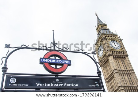 LONDON - January 21: The London 'Underground' logo will be used from now on for other transportation systems - has been announced by Transport for London (TfL), taken January 21, 2014 in London