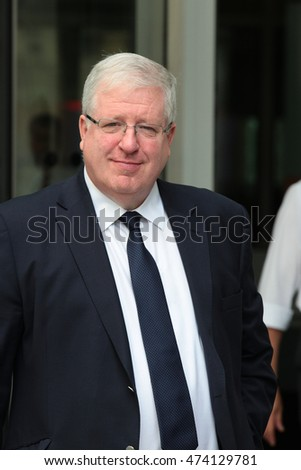 LONDON - JUL 24, 2016: Patrick McLoughlin MP Chairman of the Conservative Party seen at the BBC for the Andrew Marr show on Jul 24, 2016 in London