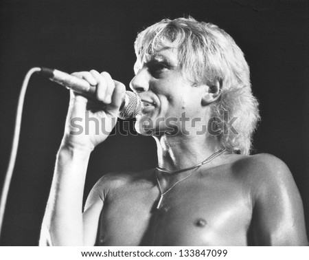 LONDON - JULY 21: Andy Ellison, Lead singer of British rock band Radio Stars, performs live on stage on July 21, 1978 in London. He was previously in the band John's Children with the late Marc Bolan.