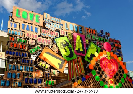 LONDON - JULY 1, 2014. Detail from the Temple of Agape by Morag Myerscough and Luke Morgan. The temple celebrates the power of love to conquer hate and it is part of the Festival of Love in London. - stock photo
