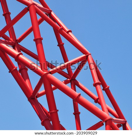 LONDON - JULY 3. Detail of the ArcelorMittal Orbit at the new Queen Elizabeth Olympic Park on July 3, 2014, a legacy of the Games designed by Anish Kapoor and Cecil Balmond, at Stratford, London. - stock photo