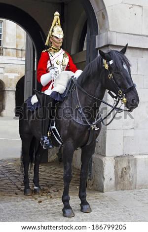LONDON, JULY 28, 2010: Guard royal in Buckingham Palace, London, UK - stock photo