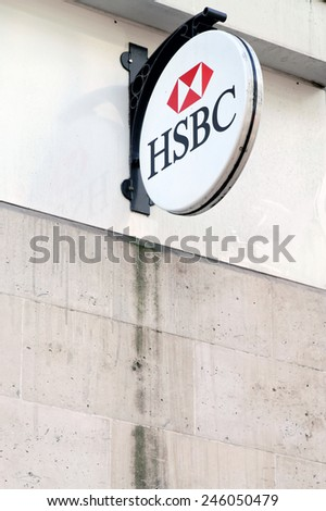 LONDON - JULY 1, 2014: HSBC Bank branch in London, United Kingdom. It is the world's second largest bank. It was founded in London in 1991. HSBC exists since 1865. - stock photo