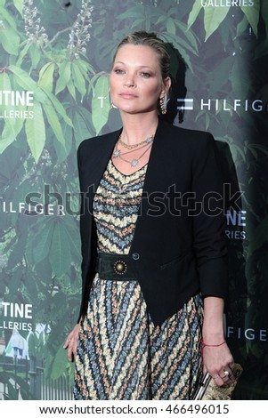 LONDON - JULY 06, 2016: Kate Moss attends the Serpentine Summer Party co-hosted by Tommy Hilfiger at the Serpentine Gallery on Jul 06, 2016 in London