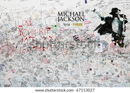 LONDON - JULY 24 : Memorial for Michael jackson at the O2 arena on July 24, 2009 in London. - stock photo