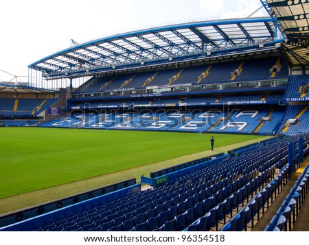 LONDON - JULY 24. On a non-match day at the Chelsea FC Stamford Bridge Stadium on July 24, 2011 in London, England.. The West Stand consists of the Great Hall and the executive boxes known as the Millennium Suites. - stock photo