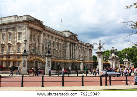 LONDON - JULY 25 : Outside view of Buckingham Palace  on July 25, 2009 in London, England. A famous Palace which is the home of British Royal family in the capital city London. - stock photo