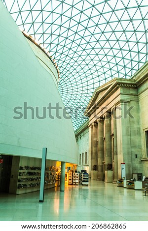 LONDON - JULY 5 : The British Museum entrance pictured on July 5th, 2014, in London, UK. The British Museum was established in 1753, and features a collection of over thirteen million objects. - stock photo