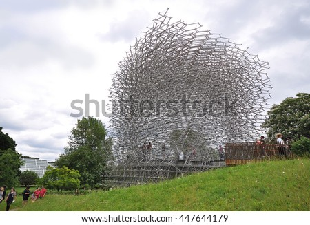 LONDON - JULY 4, 2016. The Hive is an installation highlighting the importance of pollination in the food chain, designed by Wolfgang Buttress and consultant specialists, at Kew Gardens, London. - stock photo