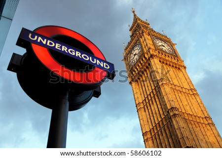 LONDON - JULY 29: The London 'Underground' logo will be used from now on for other transportation systems - has been announced by Transport for London (TfL), taken July 29, 2009 in London - stock photo