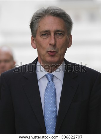 LONDON - JUN 23, 2015: Foreign Secretary Philip Hammond seen at the Cabinet Office, Downing Street on Jun 23, 2015 in London
