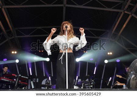 LONDON - JUN 21, 2015: Foxes on stage at the British Summer Time concert Hyde Park on Jun 21, 2015 in London  - stock photo