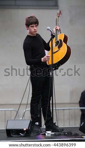 LONDON - JUN 11, 2014: Jake Bugg performs outside the BBC studios on Jun 11, 2014 in London