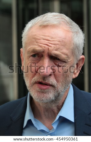 LONDON - JUN 19, 2016: Jeremy Corbyn seen at the BBC for the Andrew Marr show on Jun 19, 2016 in London