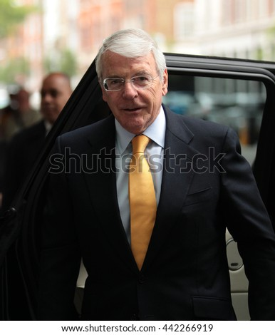 LONDON - JUN 5, 2016: John Major attends the BBC Andrew Marr show at the BBC studios on Jun 5, 2016 in London