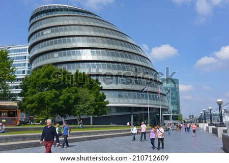 LONDON - JUN 01, 2014: London City Hall, headquarters for the Lord Mayor, the hall was designed by Lord Foster in 2002. - stock photo