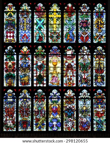 LONDON - JUNE 6, 2015. Designed by Hugh Easton the east window of the 1824 Parish Church of St Luke replaces the earlier one destroyed in the second world war located at Sydney Street, Chelsea. - stock photo