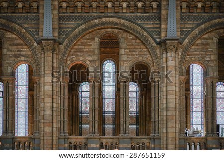 LONDON - JUNE 10 : Interior View of the Natural History Museum in London on June 10, 2015 - stock photo